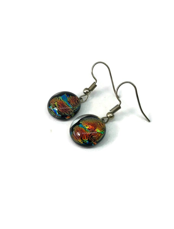 Fused glass earrings, minimalist jewelry, glass jewelry, unique gifts for her, dichroic glass jewelry, statement jewelry, glass earrings