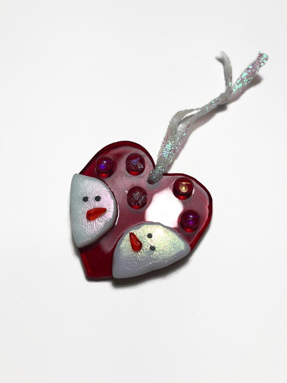 Snowman heart ornament, best friend gift, fused glass art, Unique gifts for her, snowman home decor, Christmas decor, handcrafted ornament