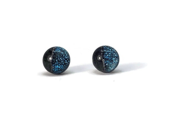 Fused Glass jewelry, unique jewelry, fused glass earrings, dichroic glass jewelry, glass studs, dichroic glass earrings, glass earrings
