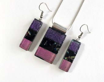 Fused Glass jewelry pendant and earring set, Unique gifts for mom, dichroic glass necklace, statement jewelry