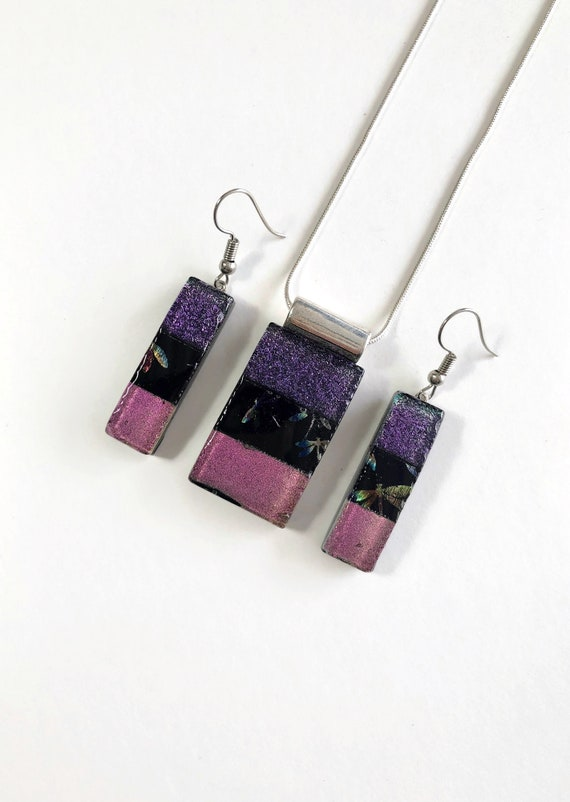 Fused Glass jewelry, Unique gifts for mom, glass jewelry set, unique gifts, dichroic glass jewelry, dichroic glass jewelry, Unique jewelry