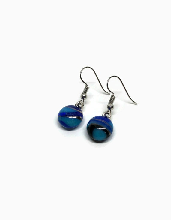 Handcrafted Fused Glass jewelry, jewelry for her, dichroic glass earrings