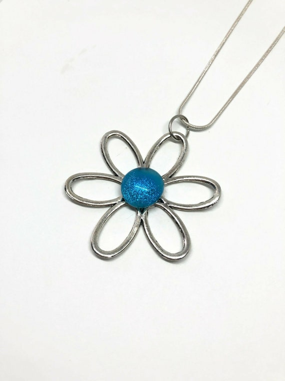 Flower pendant, Fused Glass necklace, jewelry for her, Dichroic glass pendant, unique gifts for her, statement jewelry, glass pendant, gifts