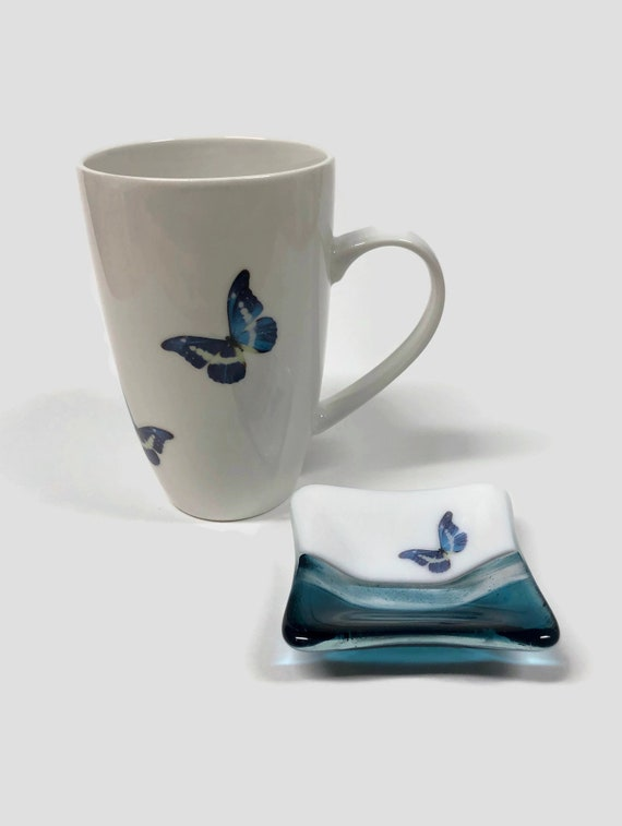 Butterfly lover coffee cup and fused glass plate, unique gifts for her, butterfly home decor