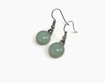 fused glass earrings, green dangle earrings, statement earrings, hypoallergenic, dichroic glass jewelry, dangle earrings