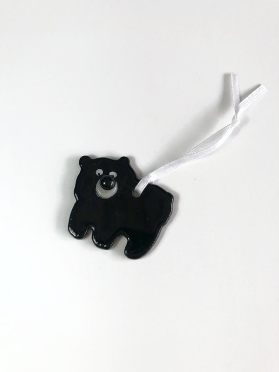 Fused glass black Bear ornament, unique gifts for her, Fused glass art, glass ornament, unique art, unique gifts for her, bear home decor