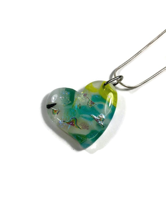 glass heart necklace, gifts for her, Dichroic glass pendant, Dichroic glass jewelry, Dichroic Glass Necklace, Glass Jewelry, Unique gifts