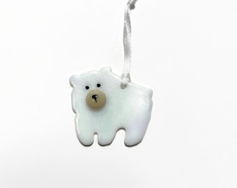 Bear ornament, glass ornament, unique gifts for her, fused glass Art, bear home decor, glass tree ornament, Christmas ornament