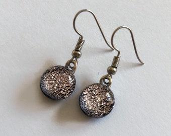 Earrings, silver earrings, Glass jewelry, dichroic glass earrings, fused glass earrings, dichroic glass earrings, dangle earrings
