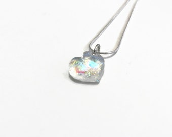 Glass jewelry, heart pendant, fused glass necklace, gifts for her, dichroic glass pendant, unique jewelry, Gifts for mom, statement pendant