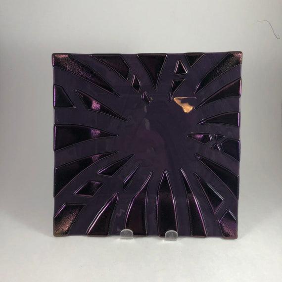 Fused glass purple plate, glass home decor, housewarming gifts, Unique art