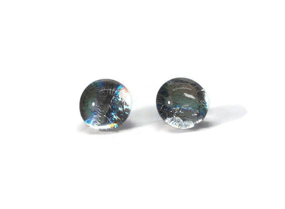 Unique jewelry, Dichroic Glass earrings, minimalist jewelry, fused glass earrings, dichroic glass jewelry, glass studs, Fused glass jewelry