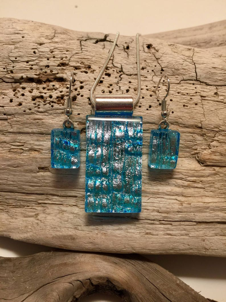 Dichroic glass necklace fused glass earrings Dichroic glass pendant glass jewelry Dichroic glass jewelry glass fused glass jewelry