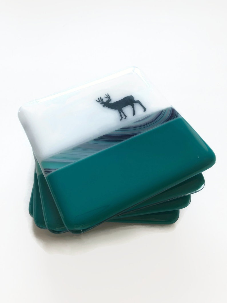 unique gifts for her Best friend gifts Fused Glass mountain themed drink coasters mountain home decor