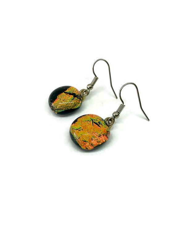 Glass jewelry, unique gifts for mom, jewelry for her, fused glass earrings, glass earrings, dichroic glass earrings, best friend gifts, gift