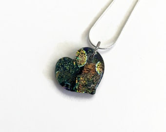 Fused glass jewelry, Glass heart Pendant, Dichroic glass Necklace, glass pendant, Statement pendant, bohemian pendant, best friend gifts