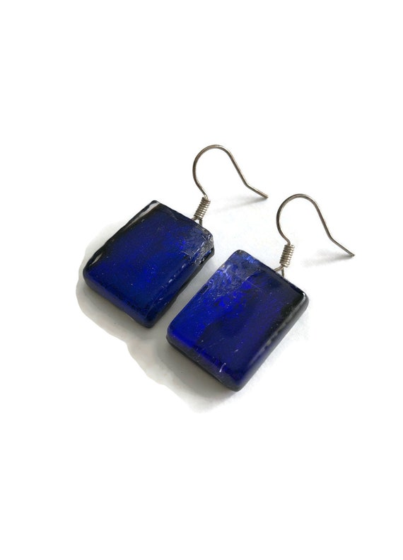 Blue Glass earrings, fused glass jewelry, Unique gifts for mom, dichroic glass earrings