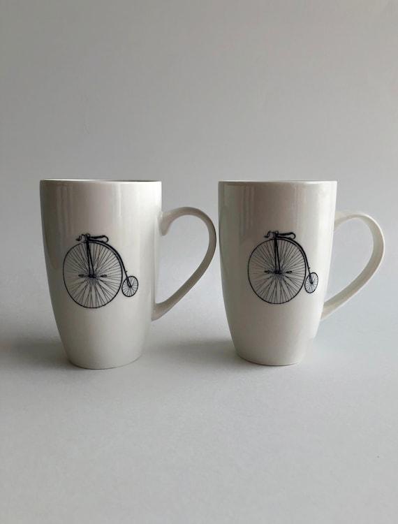 Bike mug, unique gifts for him, coffee mug, unique art, bike home decor, ceramic mug, bike themed mug, unique gifts, home decor, tea mug