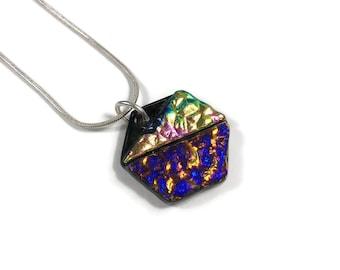 hexagon necklace, rainbow, fused glass jewelry, geometric jewelry, glass jewelry, Dichroic glass Necklace, minimalist pendant