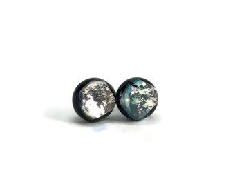 Silver Glass stud earrings, dichroic glass earrings, dichroic glass jewelry, fused glass earrings, fused glass jewelry, gifts for her