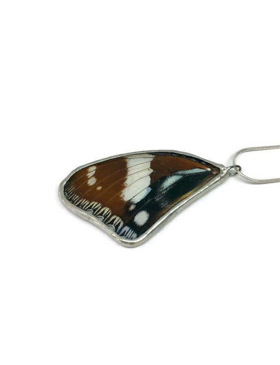 Recycled Butterfly wing jewelry, real butterfly wing, gifts for mom, insect necklace, taxidermy butterfly wing pendant