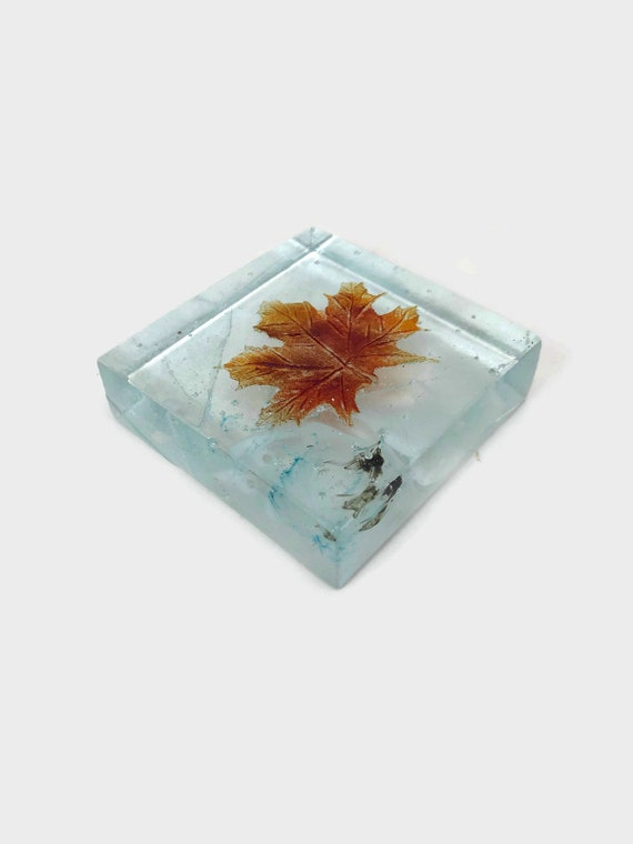 Fused glass maple leaf paperweight, glass sculpture, gifts for him, glass home decor