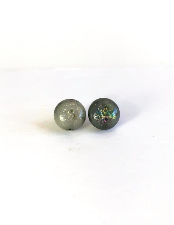 Glass studs, unique earrings, glass jewelry, jewelry for her, dichroic glass studs, unique gifts for mom, Fused Glass studs, gifts for her