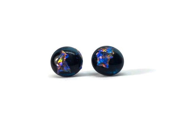 Fused glass jewelry, gifts for her, Glass studs, unique jewelry, fused glass earrings, Glass Earrings, Dichroic Glass Jewelry, Unique gifts