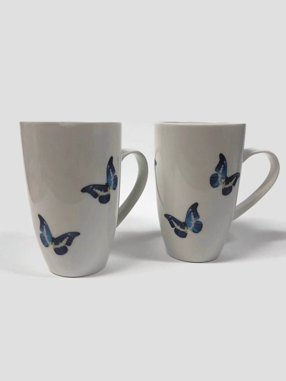 Blue morpho butterfly Coffee mugs, unique gifts for her, butterfly home decor