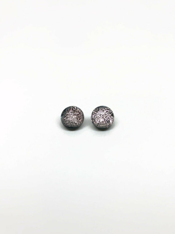 Silver Dichroic Glass minimalist earrings, fused glass studs, bridal jewelry, unique gifts for her