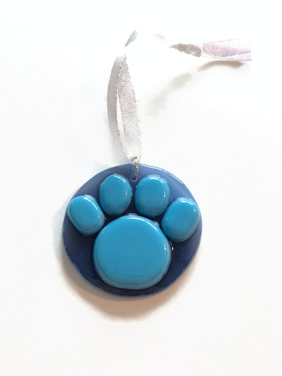 Handcrafted Fused Glass paw suncatcher ornament, Unique gifts for mom, paw print home decor, animal lover gifts