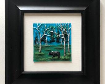 Glass art, bear wall Art, Fused glass art, bear home decor, glass wall sculpture, Scenery art, landscape art, glass panel