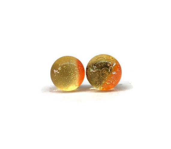 Yellow and orange Glass studs, minimalist jewelry, unique gifts for her, fused glass jewelry, Gifts for mom, glass earrings, unique jewelry