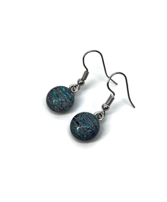 Glass earrings, unique gifts for her, dichroic glass jewelry, jewelry for her, fused glass earrings, glass jewelry, unique jewelry, gifts