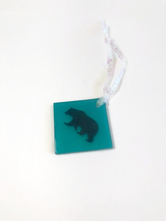 Bear ornament, unique gifts for him, glass tree ornament, fused glass decoration, Christmas decoration, glass ornament, Christmas ornament