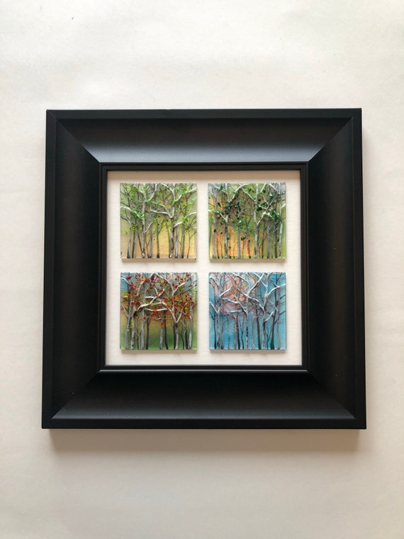 Unique Glass wall art, gifts for her, Glass home decor, four seasons Art, glass sculpture