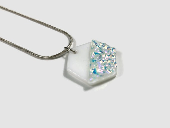 geometric jewelry, Unique jewelry, minimalist jewelry, Dichroic Glass Pendant, Fused Glass Jewelry, Dichroic glass Necklace, glass necklace