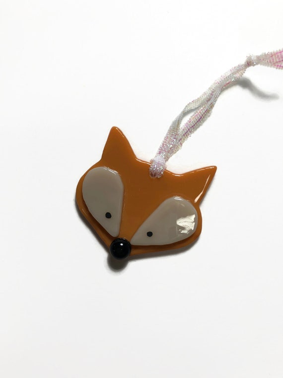 Fused glass fox ornament, unique gifts for her, glass art, glass home decor