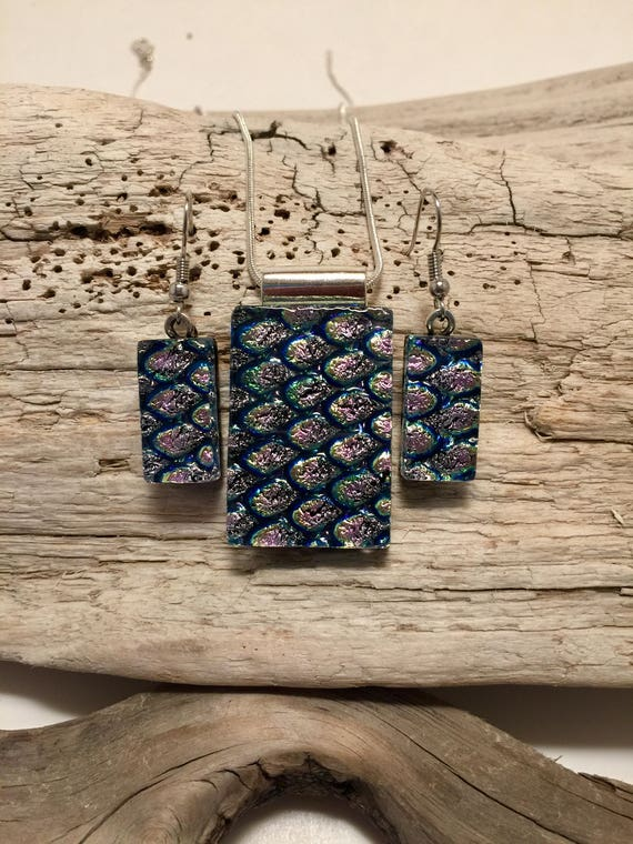 Glass Jewelry, dichroic glass jewelry, jewelry set, fused glass set, glass pendant, fused glass jewelry, pendant and earring set