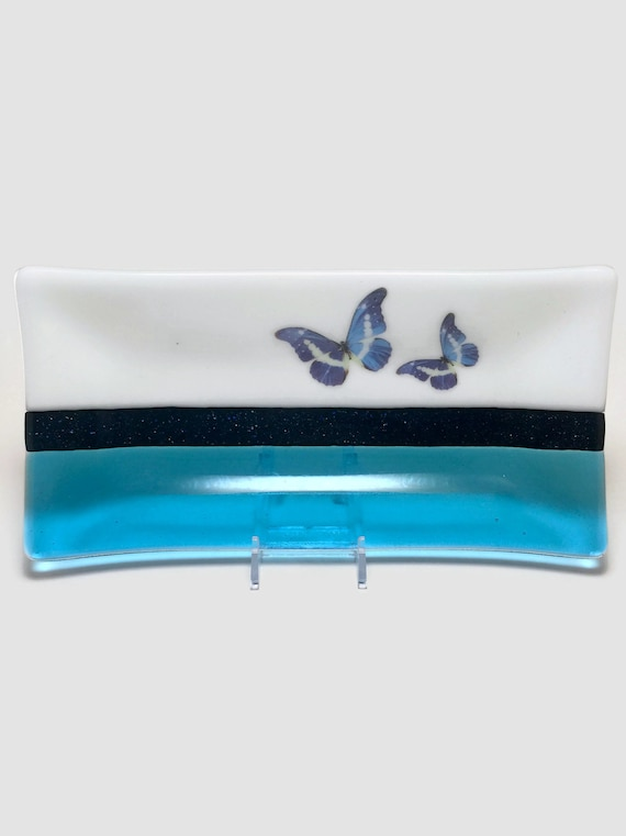 glass plate, unique home decor, gifts for her, butterfly dish, unique art, fused glass plate, glass sculpture, glass home decor, unique gift