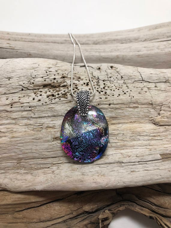 Fused glass jewelry, unique jewelry, fused glass necklace, Dichroic Glass Pendant, dichroic glass necklace, Fused Glass Pendant