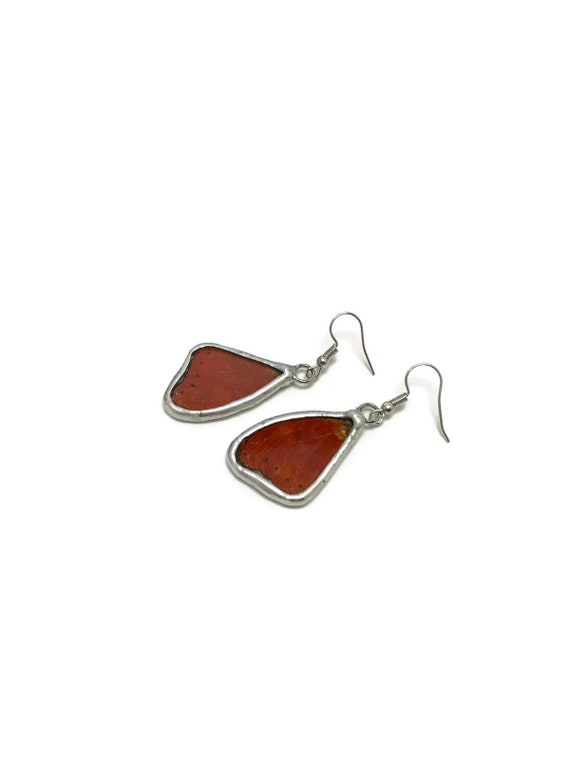 Red butterfly wing earrings, unique gifts for mom, butterfly lover gifts, Butterfly taxidermy