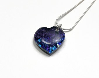Dichroic Glass jewelry, Purple heart Fused glass pendant, glass Necklace, glass pendant, bohemian pendant, best friend gifts