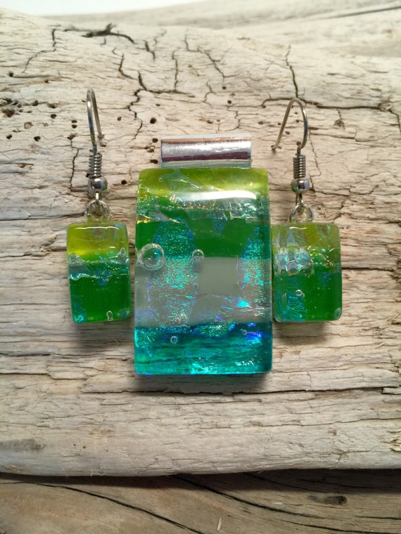 Fused glass jewelry, Unique gifts for her, fused glass earrings, Statement jewelry, dichroic glass pendant, gifts for mom, glass jewelry