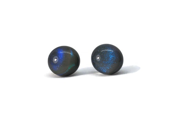Dichroic glass studs, unique jewelry, jewelry for her, minimalist jewelry, fused glass earrings, Glass Earrings, unique gifts, gifts for her