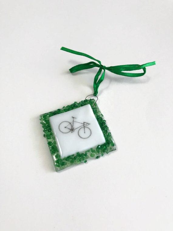 Fused glass ornament, Christmas ornament, glass art, bike decor, unique art, unique gifts for her, Christmas decor, tree ornament, gifts
