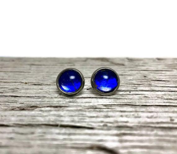 Butterfly earrings, minimalist earrings, jewelry for her, butterfly studs, unique gifts for her, Blue Morpho butterfly, butterfly taxidermy