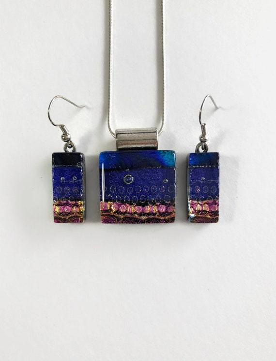 Glass jewelry set, unique jewelry, gifts for mom, unique gifts for her, dichroic glass jewelry, glass jewelry, jewelry for her, unique gifts