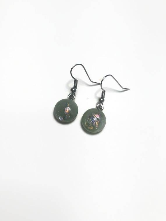 Handcrafted Dichroic glass jewelry, jewelry for mom, minimalist jewelry, fused glass earrings
