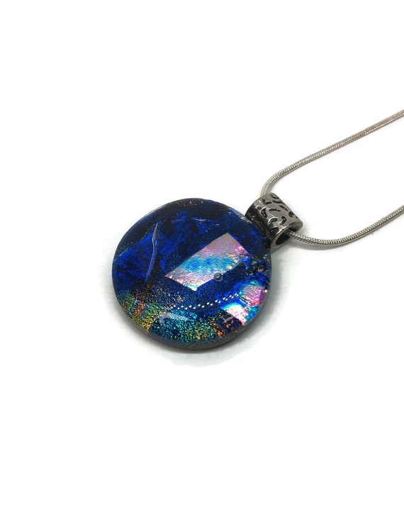 Dichroic glass jewelry, Unique gifts for her, Glass Pendant, jewelry for her, Fused Glass Jewelry, Statement pendant, Glass jewelry, gifts